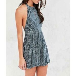 Urban Outfitters Blue Romper High Keyhole Neck
